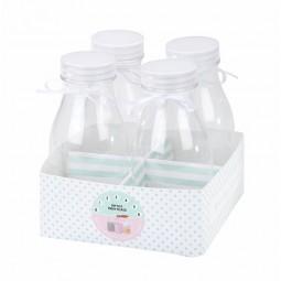 Mini-Milchflaschen mit Schleife, 4 Stk.