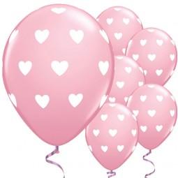 Ballons rosa mit weissen Herzen, 6 Stk.