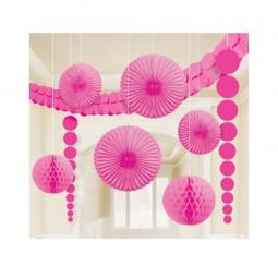 Partyraum-Dekoset pink, 9-tlg.