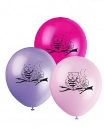 Luftballons Kinderparty Trendy Eulen, 8 Stk.