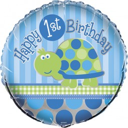 Folienballon 1. Geburtstag, Schildkröte, 1 Stk.