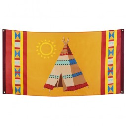 Indianerflagge Kindergeburtstag, Cowboy & Indianer, 1 Stk.