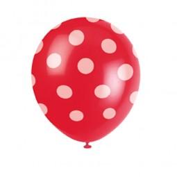 Luftballons rot mit weissen Punkten, 6 Stk.