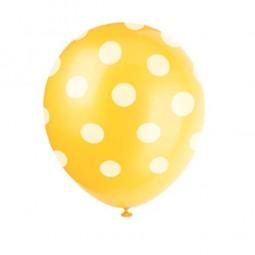 Luftballons gelb mit weissen Punkten, 6 Stk.