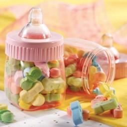 Deko-Babyfläschchen rosa, 6 Stk.