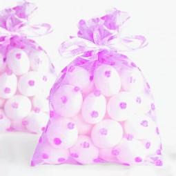 Organzsasäckchen rosa mit Punkten, 12 Stk.