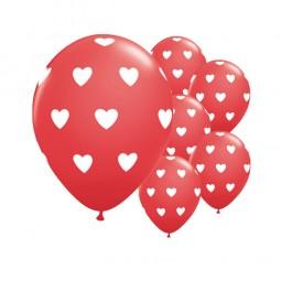 Luftballons rot mit weissen Herzen, 6 Stk.