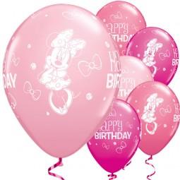 Ballons Minnie Maus Happy Birthday, 25 Stk.