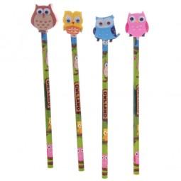Bleistift mit Radiergummi Kindergeburtstag, Eule