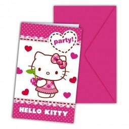 Einladung Kindergeburtstag. Hello Kitty Herzchen, 6 Stk.