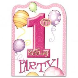 Einladungen 1. Geburtstag Ballons pink, 8 Stk.