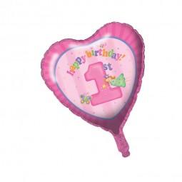Folienballon 1. Geburtstag. Mädchen