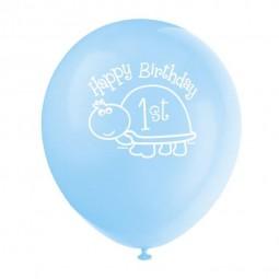 Luftballons 1. Geburtstag. Schildkröte, 8 Stk.