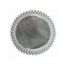Kindergeburtstag Papierbackförmchen aus Folie. Silber